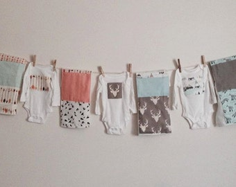 Gray Deer, Coral Arrow Modern Minimialist Newborn Onesie & burp cloth. Gift set