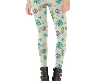 Succulent Pattern Leggings Made in USA