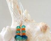 Glass Bead Jewelry - Beaded Dangle Earrings - Turquoise, Teal, and Orange Glass Beaded Earrings - Long Bead Earrings - Long Drop Earrings
