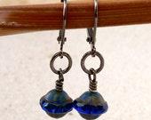 Beaded Dangle Earrings - Beaded Earrings - Drop Earrings - Blue Earrings - Short Blue Earrings - Sapphire Bead Earring - Glass Bead Jewelry