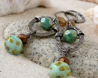 Gift Idea - Dangle Earrings - Boho Chic Jewelry - Boho Earrings - Turquoise Bronze Dangle Earrings - Long Earrings - Bead Earrings