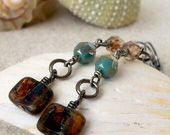Beaded Jewelry - Beaded Dangle Earrings - Glass Bead Jewelry - Gift for Her - Turquoise Earrings - Boho Earrings - Long Earrings