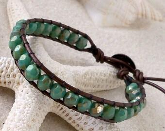 Gift for Her - Wrap Bracelet - Leather Bracelet - Bohemian Bracelet - Turquoise Bracelet - Leather Wrap Bracelet - Turquoise Bronze Series