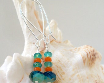 Glass Bead Jewelry - Beaded Dangle Earrings - Turquoise, Teal, and Orange Glass Beaded Earrings - Long Bead Earrings - Long Drop Earrings