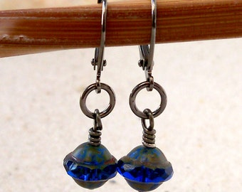 Beaded Dangle Earrings - Beaded Earrings - Drop Earrings - Blue Earrings - Short Blue Earrings - Sapphire Bead Earring - Glass Bead Jewelry