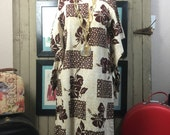 1960s hawaiian dress size medium vintage kimono dress 60s barkcloth kaftan