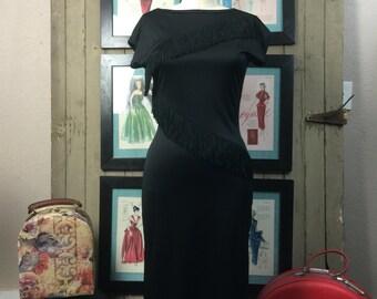 1980s black dress 80s fringe dress size medium Vintage backless dress