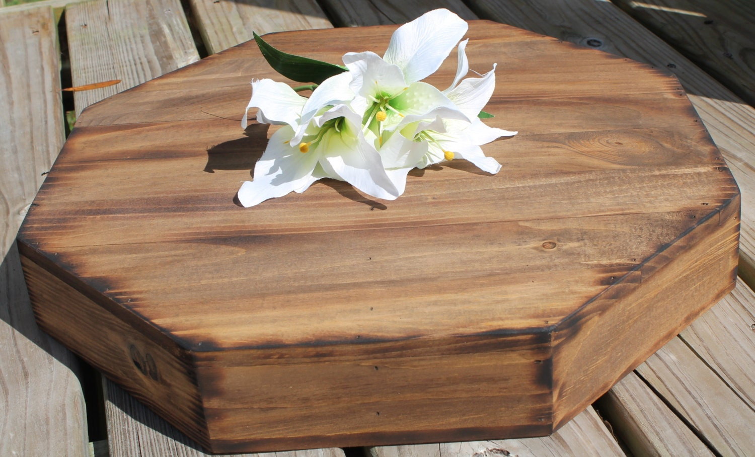 Rustic Wedding Wood Cake Stand: Rustic Wedding Wooden Cake Stand LARGE 19 Octagon Riser