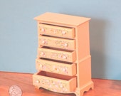 Miniature hand painted wooden chest of drawers