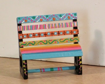 Hand painted miniature wooden bench in the mexican style