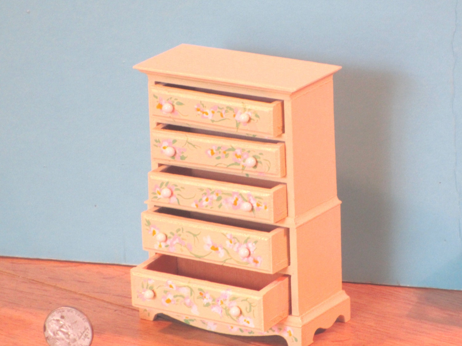 Wooden Chest Of Drawers: Miniature Hand Painted Wooden Chest Of Drawers