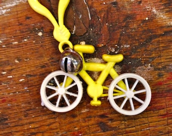 1980s Charm Necklace Yellow Bicycle Charm