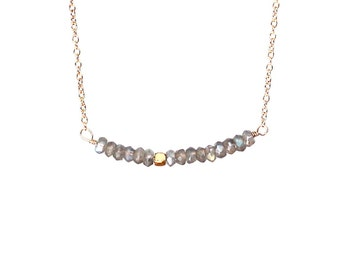 Labradorite Bar Necklace, Cable Chain, Handmade Jewelry, Gift Ideas