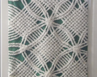 Cotton Christmas Green and White Plush Chenille Bedspread Vintage Fabric Fat Quarter sewbuzyb sst