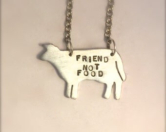Vegan Necklace-Friend Not Food- Cow Necklace-Vegan- Gift-Birthday-Anniversary-Vegan Jewelry-Plant Based-Ethical-Farm Animals- Eco Friendly