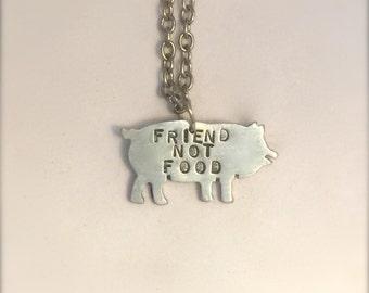 Mini Friend not Food Pig Eco Friendly necklace