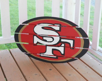 San Francisco 49ers sign made from recycled pallets, hand painted