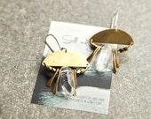 Half Moon Brass and Silver Earrings with Quartz Crystal