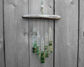 Green Glass Wind Chime with Driftwood, Green Windchime, Green Glass Chimes