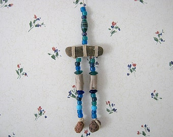 Stone and Driftwood Wall Hanging with Glass Beads, Ocean Decor, Seashore Art