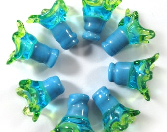 Handmade Lampwork bead glass - Lampwork beads set - Thimble Bell Beads, turquoise, lime (8) SRA