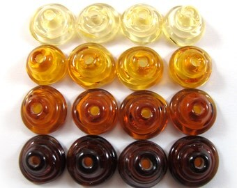 Handmade Lampwork Beads Glass, Lampwork beads set, Cone Shape Bead Caps, Amber (16) SRA