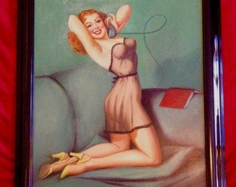 PINUP ORIGINAL by CARLYLE- 1940's Painting 24X3O Vintage Elvgren style Pin-Up Modern, MidCentury pinup Original pin-up Vintage Painting