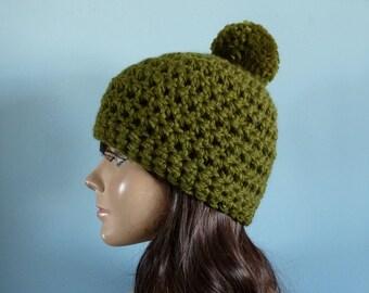 Winter Hat with Pom Pom, Crochet Hat, in Cilantro Green - Winter Accessories