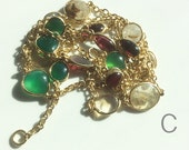 Mixed Gemstone Bezeled 24 kt. Gold Plated Chain by the Foot (C)