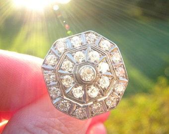 Stunning Art Deco Diamond Ring, 23 European Cut Diamonds in Platinum Octagonal Halo Design, Super Sparkly, Circa 1930s