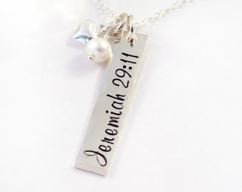Jeremiah 29:11 Necklace, Sterling Silver and Freshwater Pearl, Scripture Necklace, Life Verse Jewelry