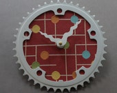 Bicycle Gear Clock - Modern Gumdrops | Bike Clock | Wall Clock | Recycled Bike Parts Clock
