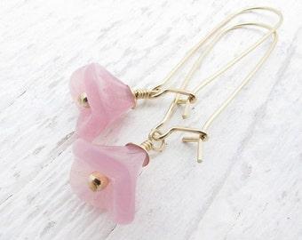 Valentine earrings, pink flower earrings, dangle earrings, gold and pink earrings, bridesmaid earrings, trumpet flower, flower earrings,