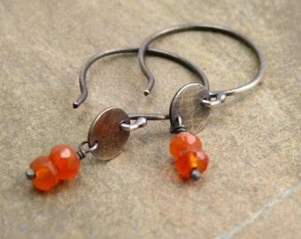 Carnelian Drop Earrings in Sterling Silver