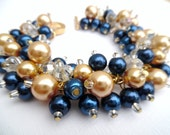 Navy Blue Beaded Bracelet, Dark Blue and Gold Wedding Jewelry, Pearl and Crystal Bridesmaid Bracelet, Cluster Bracelet, Pearl Bracelet, Blue