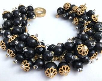 Black Pearl Bracelet, Bridesmaid Jewelry, Black Cluster Bracelet, Beaded Bracelet, Wedding Jewelry, Bridesmaid Gift, Black Wedding Theme