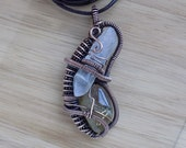 Quartz Alliance Pod Pendant Rutilated Tumbled Stone Point Oxidized Copper Wire Wrapped Jewelry Handmade Reiki Boho Scifi Medallion Amulet