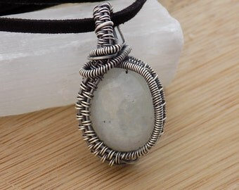 White Rainbow Moonstone Cabochon Wire Wrapped in Oxidized Sterling Silver Pendant Wire Wrapped Jewelry Handmade Moonstone Cab Boho Pendant