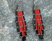 Beaded Red Earrings, Brick Stitched earrings, Bead Work, Native American Earrings, Hypoallergenic Earrings, Indian Bead Work, Pow Wow Style