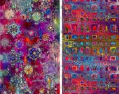 Artist Made Quilting Fabric By The Yard 2 Large Panels Fushia Stars Sky Celestial Kaleidoscope