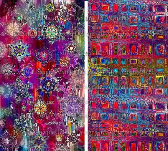 Artist Made Quilting Fabric By The Yard 2 Large Panels Fushia Stars Sky Celestial Kaleidoscope