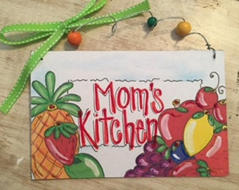 Hand personalized cute fruit sign perfect for kitchen or restaurant