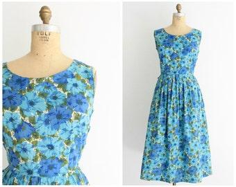 50s blue floral dress   vintage 1950s cotton floral midi dress   medium