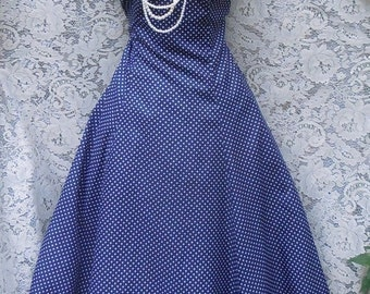 Valentines Sale Blue dot dress polka dot  50s style halter pin up rockabilly small from vintage opulence on Etsy