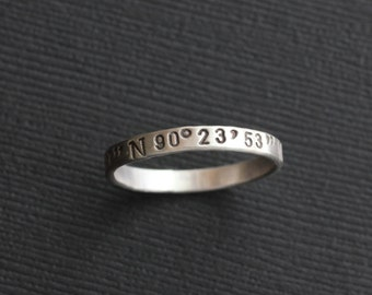 Personalized Coordinate Ring, Hand Stamped Sterling Silver