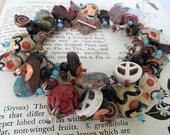 Rustic Charm Bracelet, Beaded Bracelet, Rustic Bracelet, Earthy Bracelet, Lampwork Bead Bracelet, Bead Collection, Gemstone Beads, Cha Cha