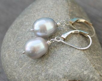 Gray Pearl Earrings, Sterling Silver Lever Backs, Silver Pearl Drop Earrings - Simplicity