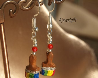 Vibrant Paint Brush Earrings 15029
