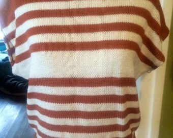 Vintage womens 1980's cap sleeved striped sweater/shirt...size S/M
