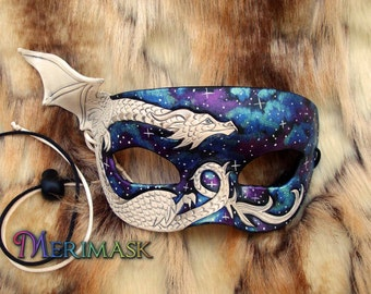 READY TO SHIP White Dragon Galaxy Mask... original handmade leather masquerade costume galaxy mardi gras halloween burning man starry night
